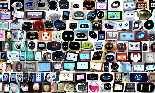 A collage of robot faces